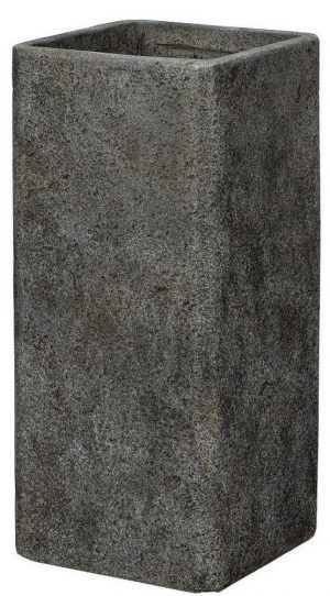 Tall Square Weathered Stone Effect Dark Grey Outdoor Planter H60 L28 W28 cm