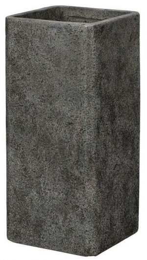 Tall Square Weathered Stone Effect Dark Grey Outdoor Planter H70 L34 W34 cm