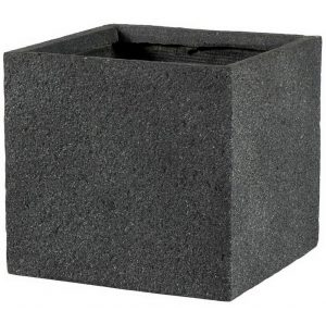 Square Textured Concrete Effect Dark Grey Outdoor Planter H42 L44 W44 cm