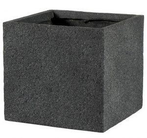 Square Textured Concrete Effect Dark Grey Outdoor Planter H23 L24 W24 cm
