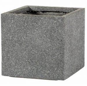 Square Textured Concrete Effect Grey Outdoor Planter H23 L24 W24 cm