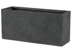 Slim Textured Concrete Effect Dark Grey Trough Outdoor Planter H35 L74.5 W25 cm