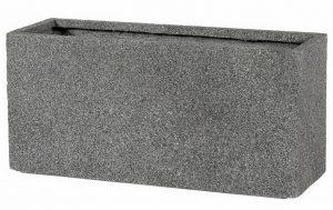 Slim Textured Concrete Effect Grey Trough Outdoor Planter H35 L74.5 W25 cm