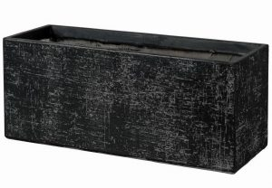 Slim Textured Stone Effect Black Trough Outdoor Planter H35 L74.5 W25 cm