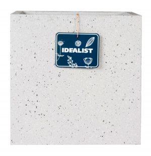 Square Box Contemporary Grey Marble Light Concrete Planter H26.5 L28.5 W28.5 cm