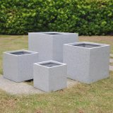 Square Box Contemporary Grey Marble Light Concrete Planter H31.5 L35.5 W35.5 cm